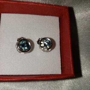 Blue Moissanite Earrings.